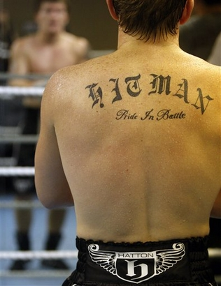 "Hatton's new Tattoo "" Hitman, Pride In Battle """