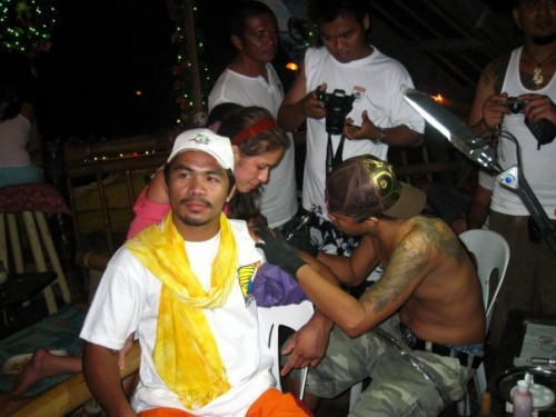 On the other hand, Manny Pacquiao is not covered in tattoos just yet but he
